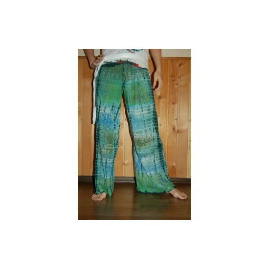 Hippi nadrág zöld-kék batikolt színben
