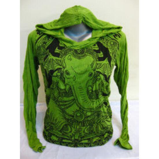 Sure Design unisex kapucnis póló batman Ganesha mintázattal lime színben-S