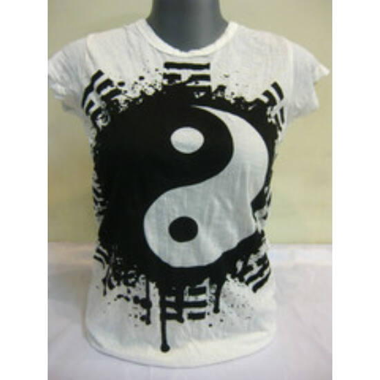 SURE DESIGN póló jin-jang szimbólummal fehér színben-S
