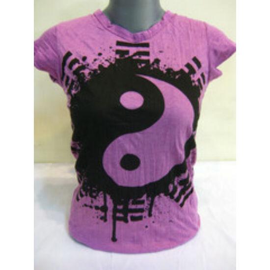 SURE DESIGN póló jin-jang szimbólummal lila színben-M