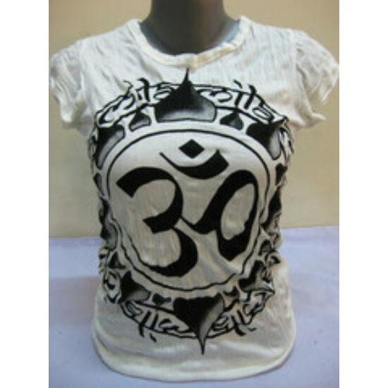 SURE DESIGN póló Om mintázattal fehér színben-S