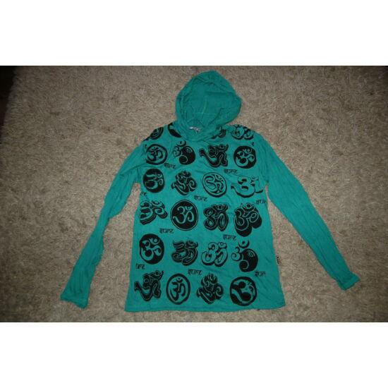 Sure Design unisex kapucnis póló Om szimbólummal világoszöld színben