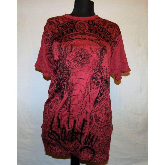 Unisex Sure Design póló elefánt rajzolattal bordó színben