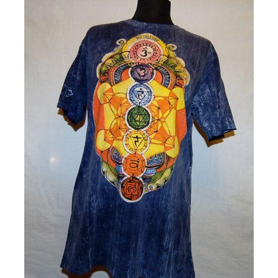 Unisex Sure Design póló színes csakraszimbólum rajzolattal kék márványozott színben