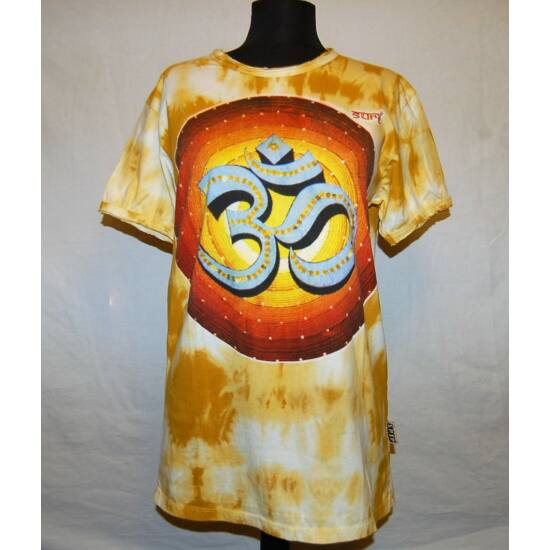 Unisex Sure Design póló színes Om rajzolattal batikolt sárga színben