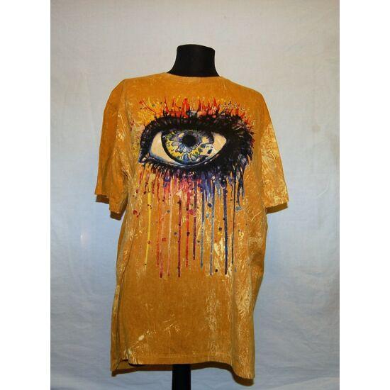 Unisex Sure Design póló óriásszem rajzolattal mustársárga színben