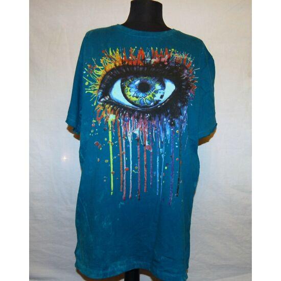 Unisex Sure Design póló óriásszem rajzolattal türkizkék színben