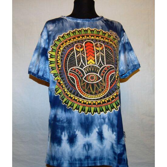 Unisex Sure Design póló mindent látó kéz rajzolattal batikolt kék színben