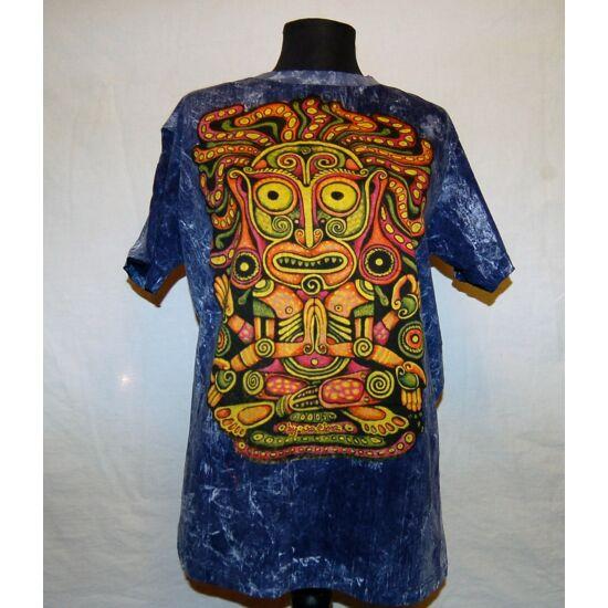 Unisex Sure Design póló színes maszk rajzolattal kőmosott kék színben