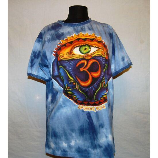 Unisex Sure Design póló színes Om-szem rajzolattal batikolt kék színben