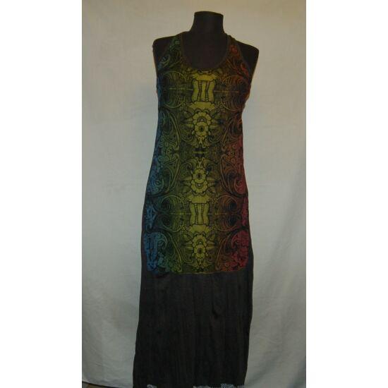 Sure Design hosszú ruha csakraszínű virág rajzolatokkal sötétszürke színben