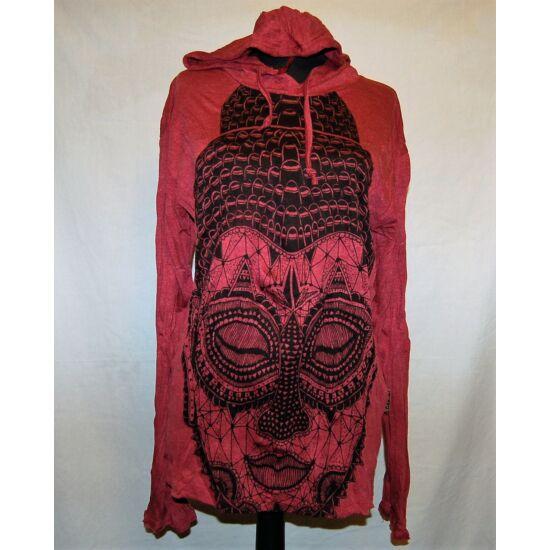 Sure Design unisex kapucnis póló meditáló Buddhával bordó színben