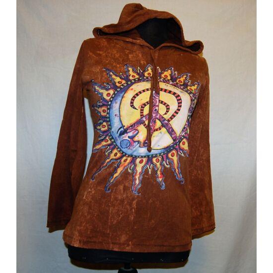Sure Design unisex kapucnis póló Nap mintázattal batikolt barna színben