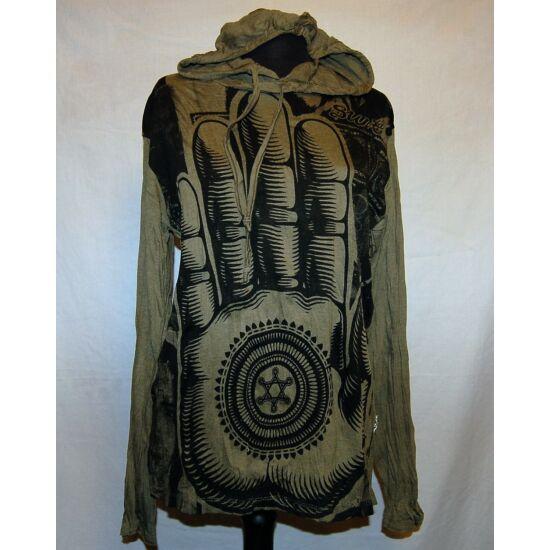 Sure Design unisex kapucnis póló mindentlátó tenyérrel keki színben