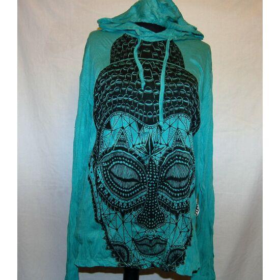 Sure Design unisex kapucnis póló meditáló Buddhával türkiz színben