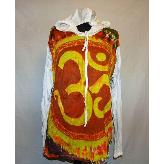 Sure Design unisex kapucnis póló színes Om mintázattal fehér-narancs színben