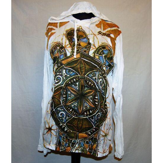 Sure Design unisex kapucnis póló teknős mintázattal fehér színben