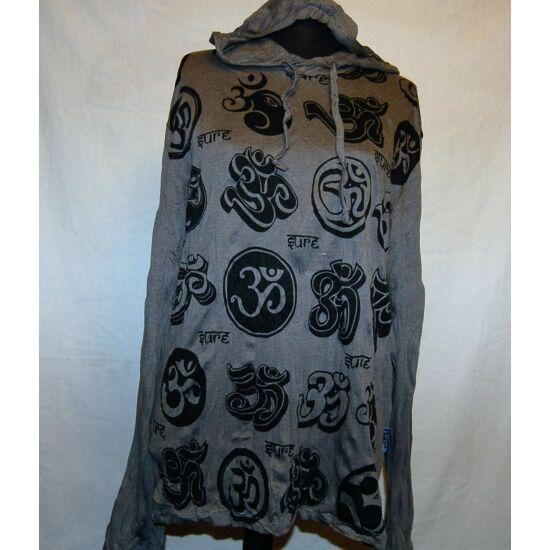 Sure Design unisex kapucnis póló Om szimbólummal szürke színben