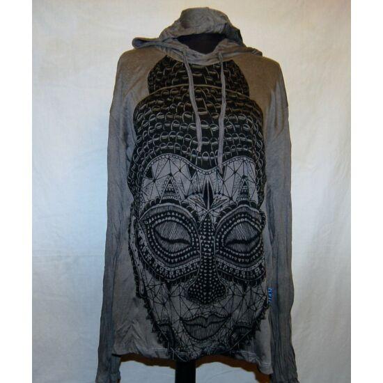 Sure Design unisex kapucnis póló meditáló Buddhával szürke színben