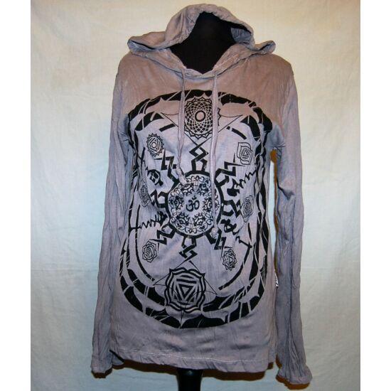 Sure Design unisex kapucnis póló csakraszimbólumos mandala szürke színben