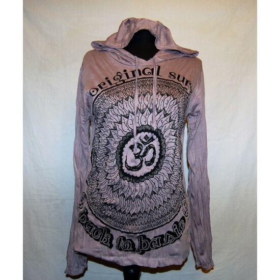 Sure Design unisex kapucnis póló Om mandala rajzolattal szürke színben