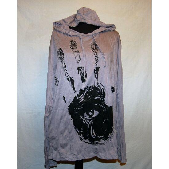 Sure Design unisex kapucnis póló mindent látó kéz rajzolattal szürke színben