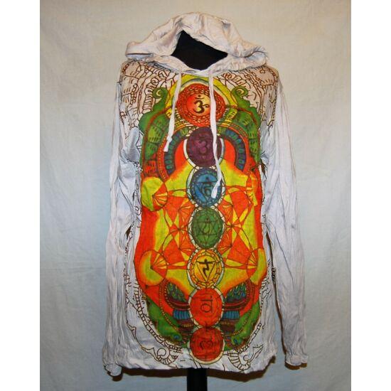 Sure Design unisex kapucnis póló színes csakraszimbólumokkal bézs színben