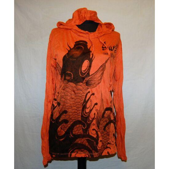 Sure Design unisex kapucnis póló hal mintázattal narancs színben