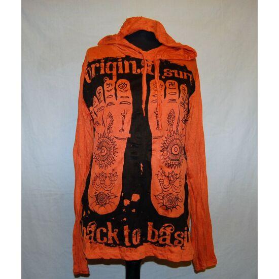 Sure Design unisex kapucnis póló tetovált talpak mintázattal narancs színben