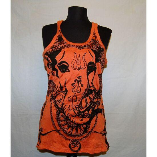 Unisex Sure Design trikó Ganésha mintázattal narancs színben