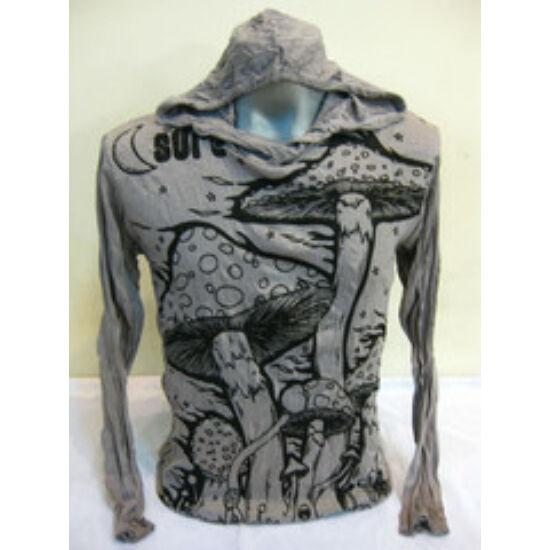 Sure Design unisex kapucnis póló gomba mintázattal szürke színben-M