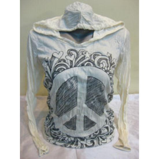 Sure Design unisex kapucnis póló Peace mintázattal fehér színben-S