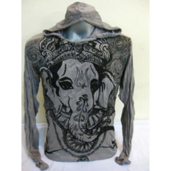 Sure Design unisex kapucnis póló Ganésha arc mintázattal szürke színben-M